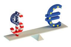 dollar 3D eller euro, jämviktsbegrepp Royaltyfri Fotografi
