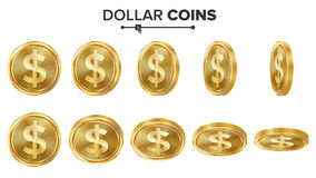 Dollar 3D Gold Coins Vector Set. Realistic Illustration. Flip Different Angles. Money Front Side. Investment Concept. Finance Coin Icons, Sign, Success Banking Stock Image