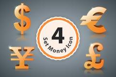 Dollar d'icône d'argent, euro, livre britannique, Yen Images libres de droits