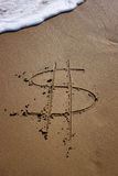 Dollar in danger. Symbol of dollar written on sand on the beach represent dollar in danger of incoming wave Stock Photos