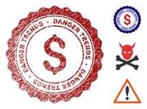 Dollar Danger Trends Seal with Dust Effect. Dollar Danger Trends grunge round stamp with warning icon. Vector red seal with scratched effect for rubber stamps stock illustration