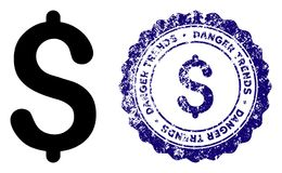 Dollar Danger Trends Stamp with Scratched Style. Dollar Danger Trends round stamp in grunge blue and clean black styles. Rubber seal stamp with grunge design of stock illustration
