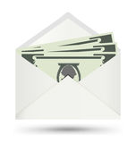 Dollar dans l'enveloppe blanche, icône de vecteur Images stock