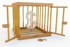 Dollar dans une cage Images libres de droits