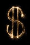 Dollar de cierge magique sur le fond noir Images libres de droits