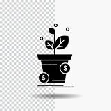 dollar, de groei, pot, winst, Pictogram het bedrijfs van Glyph op Transparante Achtergrond Zwart pictogram royalty-vrije illustratie