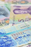 Dollar de Hong Kong et billets de banque chinois de yuans, pour le concept d'argent Photos libres de droits