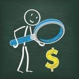 Dollar de loupe de Stickman de tableau noir Image libre de droits