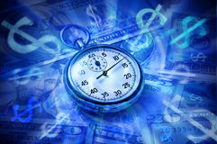 Dollar de montre d'argent de temps d'affaires Photos stock