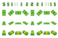 Dollar de papier d'argent d'animation point par point Le bouchon de bande dessin?e de encaissent dans diff?rentes positions d'iso illustration de vecteur