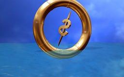 Dollar in de ring die binnen daalt Royalty-vrije Stock Foto's