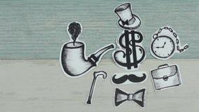 Dollar in de rol van de herenstijl stock footage
