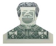 Dollar de sourire Bill Isolated de DUDE Man Face Real One d'origami d'argent sur le fond blanc images stock
