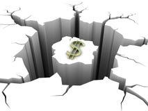 Dollar de symbole et trou circulaire dans la terre Images stock