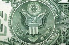 1 Dollar de V.S., een adelaar, voor een achtergrond Macro Royalty-vrije Stock Afbeelding