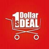 Dollar deal poster with a basket, vector Royalty Free Stock Photography