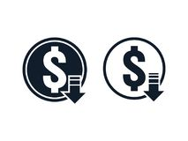 Dollar decrease icon. Money symbol with arrow stretching rising drop fall down. Recession Business. cost reduction icon. vector il. Lustration Royalty Free Stock Photos