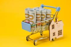 Dollar in den Rollen in einer Metalllaufkatze von einem Supermarkt, auf einem gelben Hintergrund, nahe einem Sperrholzhaus, das K Stockfotografie
