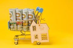 Dollar in den Rollen in einer Metalllaufkatze von einem Supermarkt, auf einem gelben Hintergrund, nahe einem Sperrholzhaus, das K Lizenzfreie Stockfotografie