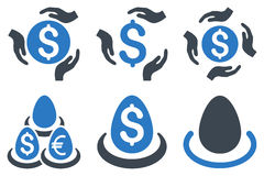 Dollar Deposit Care Flat Glyph Icons. Dollar Deposit Care glyph icons. Icon style is bicolor smooth blue flat symbols with rounded angles on a white background Stock Images