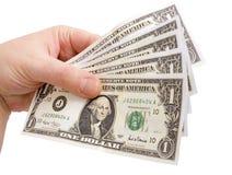Dollar in der Hand stockfoto