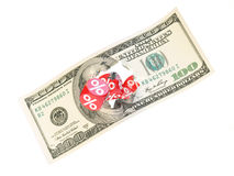 100 dollar dice. Group a percentage dice break 100 dollar Royalty Free Stock Photo
