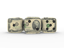 Dollar dices. On an isolated background Stock Photo