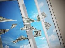 Dollar, die aus dem Fenster heraus fliegen Abbildung 3D Lizenzfreies Stockfoto