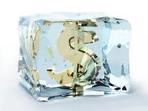 Dollar die in ijs wordt bevroren Royalty-vrije Stock Afbeelding