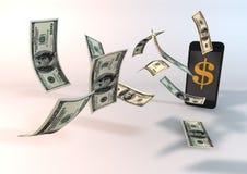 Dollar die van Telefoon vliegen Stock Afbeeldingen
