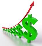 Dollar die zich omhoog beweegt Stock Afbeeldingen