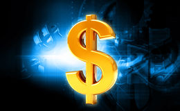 Dollar. Digital illustration of dollar in colour background royalty free illustration