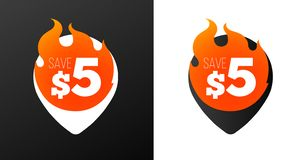 5 dollar discount burning pins. White and Black variations. Isolated vector objects Stock Photo