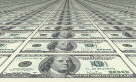 Dollar, dollar and dollar. Bills of 100 dollar in every place Stock Images