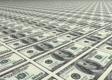 Dollar, dollar and dollar. Bills of 100 dollar in every place Royalty Free Stock Photo