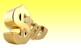Dollar. Sign gold currency  sign three-dimensional shape religious icon royalty free illustration