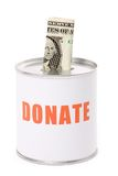 Dollar and Donation Box Stock Photography