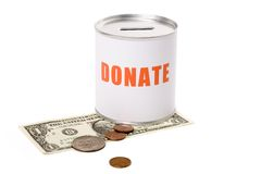 Dollar and Donation Box Royalty Free Stock Image