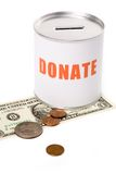 Dollar and Donation Box Stock Photo