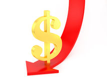 Dollar down Stock Photography