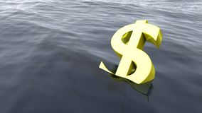 Dollar drowning in the ocean economy crisis concept Royalty Free Stock Photo