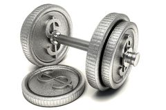 Dollar Dumbbell Royalty Free Stock Photo