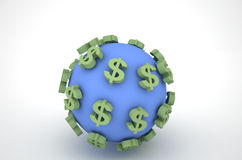 Dollar and the Earth Royalty Free Stock Photography