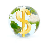 Dollar earth glass. 3d rendered dollar sign in glass sphere with earth map Stock Images