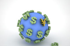 Dollar, earth and Rmb Royalty Free Stock Images