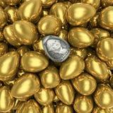 Dollar egg. 3D render of dollar egg among golden eggs stock illustration
