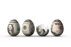 Dollar eggs. Easter eggs with dollar banknotes prints on shell Royalty Free Stock Photos