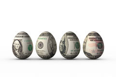 Dollar eggs. Easter eggs with dollar banknotes prints on shell Stock Image