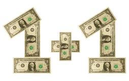 Dollar einer plus einen Stockfoto