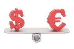 Dollar eller euro, jämviktsbegrepp framförande 3d Arkivbild